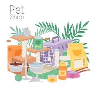 O cartaz da petshop contém gaiola para gatos e cães, brinquedos, comida de animais, tigelas e ilustrações de folhas de plantas em casa.