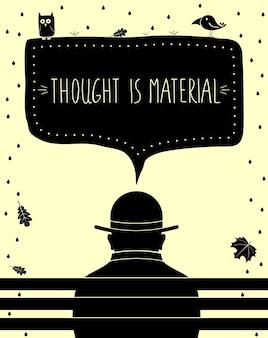 O cartaz de pensamento é material. cópia da arte. silueta, de, homem, pensando