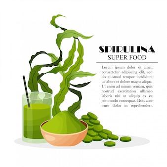 O cartaz de spirulina com algas pulveriza as algas do batido das tabuletas isoladas no fundo branco, ilustração. comida saudável.