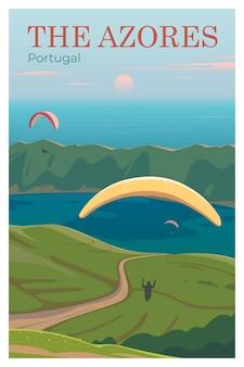 O cartaz de viagem do vetor dos açores