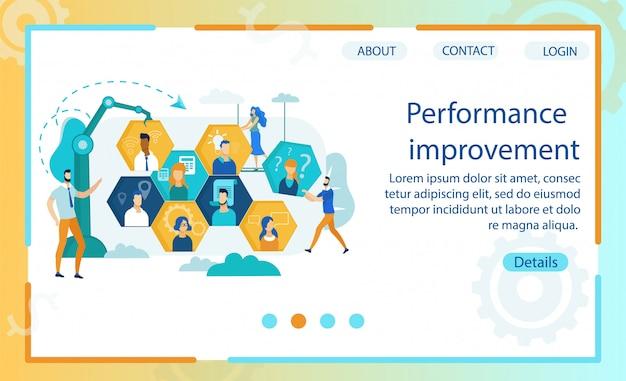 O cartaz é escrito melhoria do desempenho.