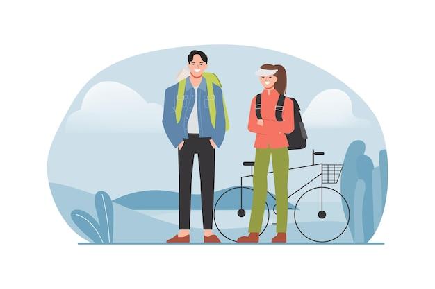 O casal anda de bicicleta nas montanhas.