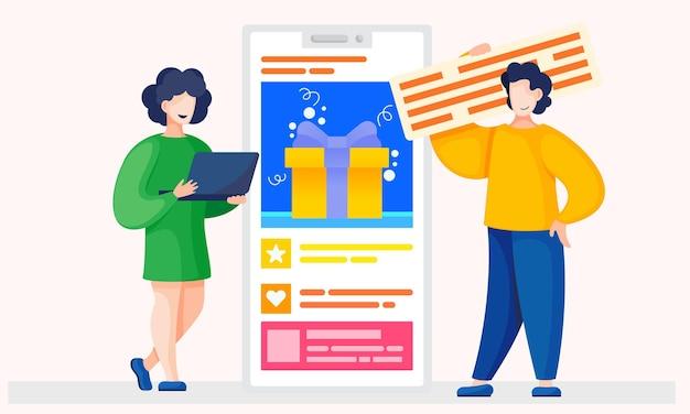 O casal escolhe presente no aplicativo no smartphone. pessoas se comunicando com os vendedores.