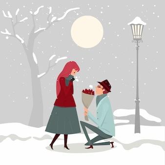 O casal está apaixonado, um homem pede a uma menina para se casar sob o frio