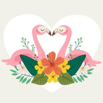 O casal fofo de flamingo amor parece forma de coração com folhas tropicais e grande coração.