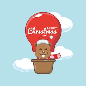 O castor fofo no dia de natal voa com um balão de ar ilustração fofa dos desenhos animados de natal