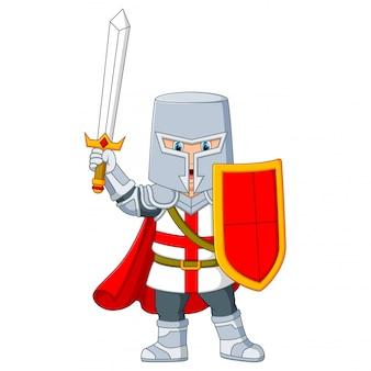O cavaleiro segurando uma espada