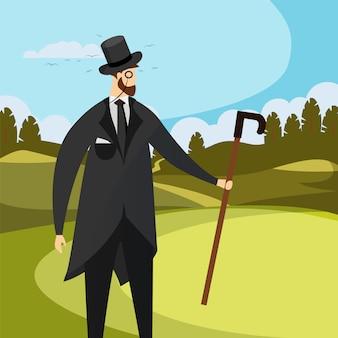 O cavalheiro do vintage veste o chapéu alto, o monocle e o bastão.