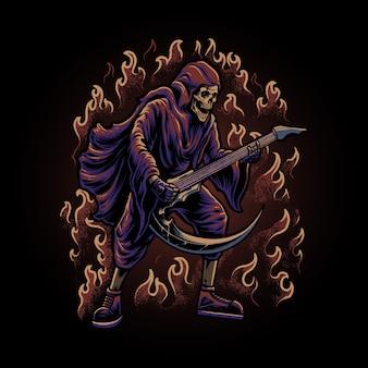 O ceifador com ilustração de guitarra