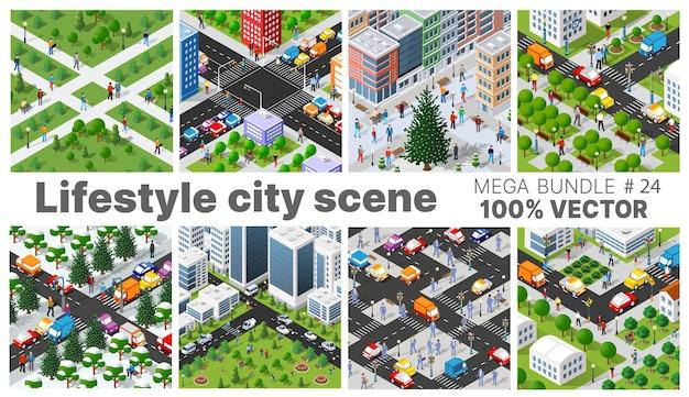 O cenário de estilo de vida da cidade apresenta ilustrações sobre temas urbanos com casas