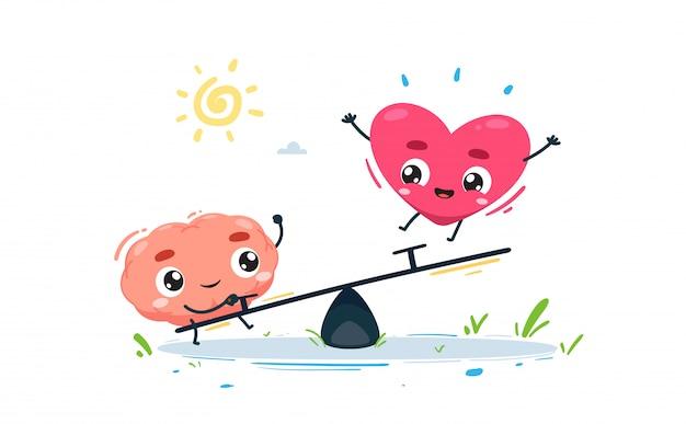 O cérebro e o coração estão brincando juntos.