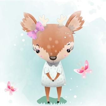 O cervo do bebê é um caráter bonito pintado com aguarela.