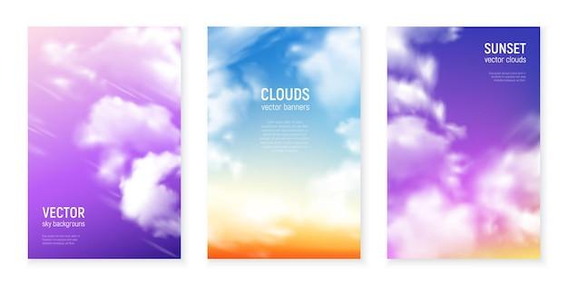 O céu azul magenta violeta cobre com nuvens flutuantes realistas