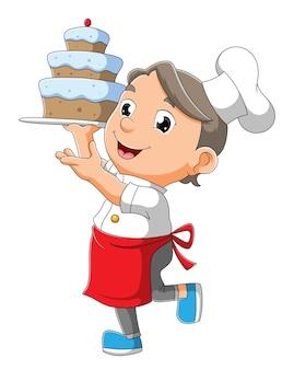 O chef boy está segurando um bolo de ilustração