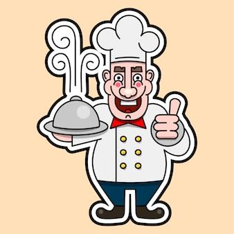 O chef cozinhou um logotipo prato quente