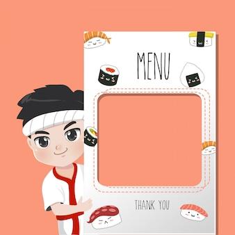 O chef do japão recomenda cardápio de comidas,