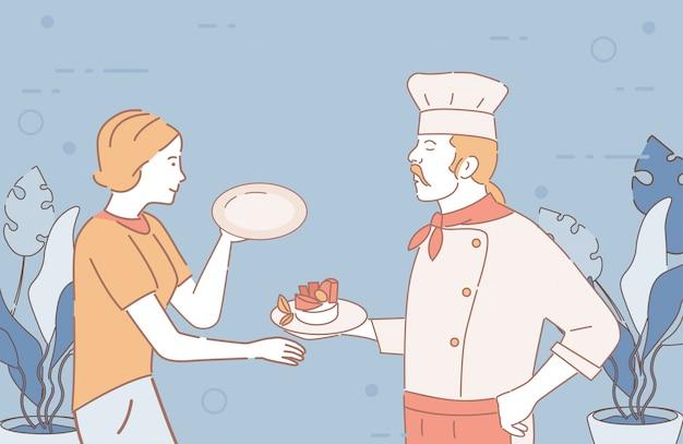 O chef do restaurante dá o prato terminado à ilustração dos desenhos animados da empregada de mesa. os funcionários do restaurante descrevem caracteres.