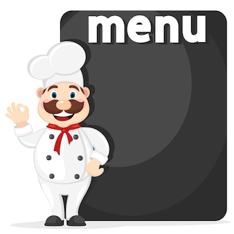 O chef está de pé ao lado do quadro negro para o menu. lugar para texto.