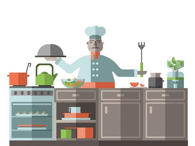 O chef está na cozinha do restaurante. um cozinheiro está de pé ao lado do fogão e prepara a comida. ilustração em estilo, sobre fundo branco.