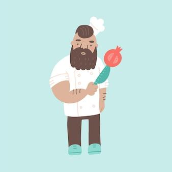 O chef fofo e brutal no chapéu do personagem de desenho animado cozinha com uma faca e uma romã na ilustração plana de uniforme tradicional