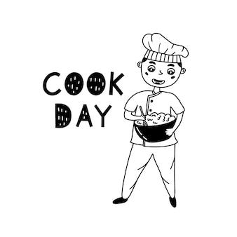 O chef infantil prepara