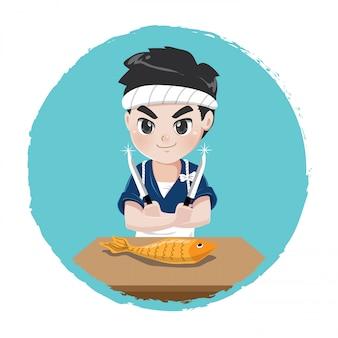 O chef japonês mostrará habilidades de pesca dissecadas para cozinhar comida japonesa usando uma faca afiada,