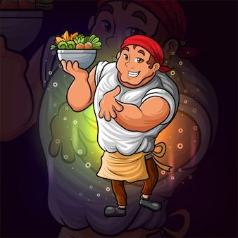 O chef profissional com o design do logotipo da tigela de vegetais esport como ilustração