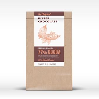 O chocolate amargo original. etiqueta de produto de saco de papel artesanal.