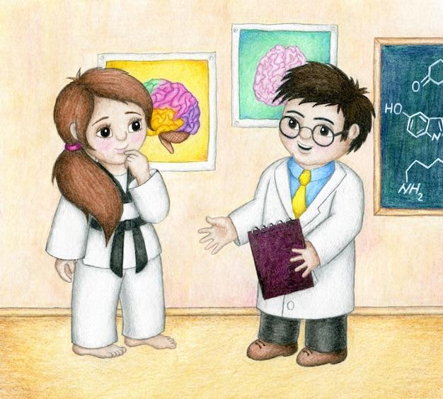 O cientista está explicando para a garota de taekwondo como a prática de taekwondo melhora seu cérebro.