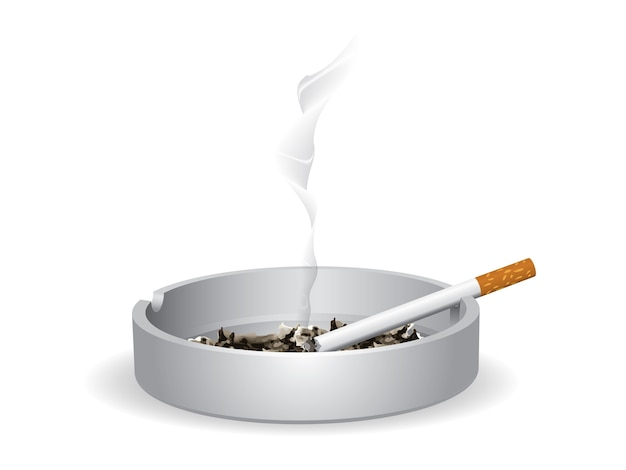O cigarro aceso está no cinzeiro