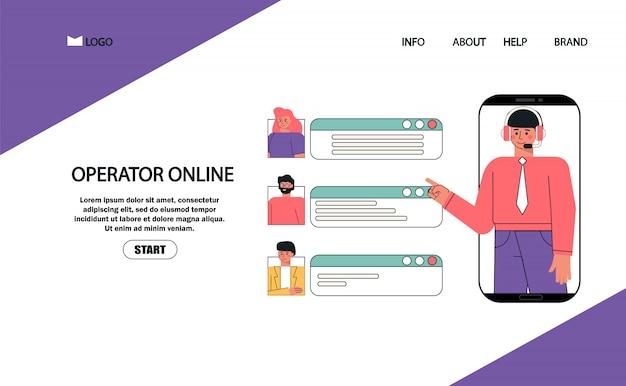 O cliente e o operador ajudam o atendimento ao cliente on-line, o operador de linha direta masculino aconselha o cliente, suporte técnico global on-line.