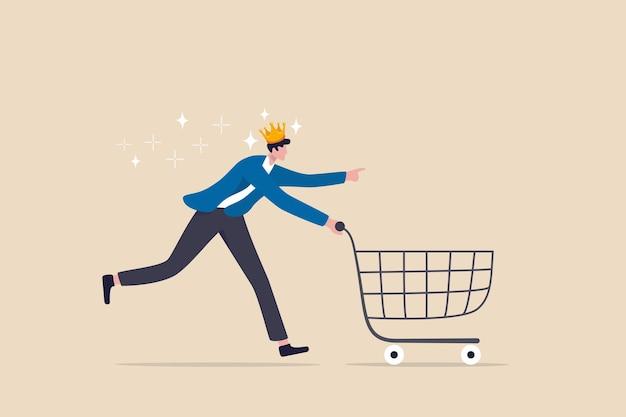 O cliente é rei, o cliente deseja é o mais importante, a experiência do usuário ou o conceito de estratégia de marketing centrado no cliente, o cliente homem feliz usando a coroa real correndo com o carrinho de compras pronto para comprar o produto.
