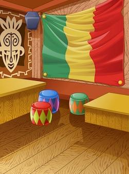 O clube de madeira de jamaica é colorido.