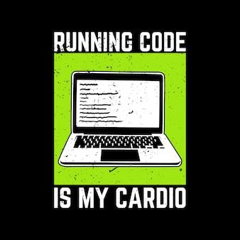 O código de execução do design da camiseta é o meu cardio e ilustração vintage com fundo preto