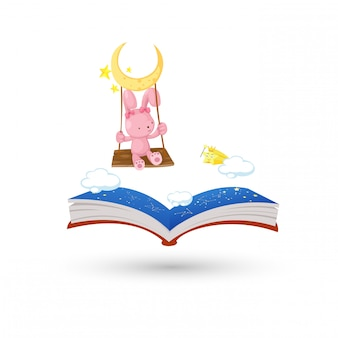 O coelho balançando com o livro de horóscopo