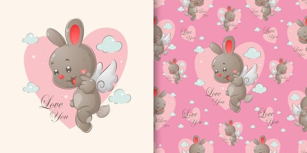 O coelho com pequenas asas está brincando com a expressão feliz no conjunto padrão da ilustração