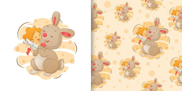 O coelho fofo brincando com a pequena fada na ilustração de aquarela em um conjunto padrão de ilustração