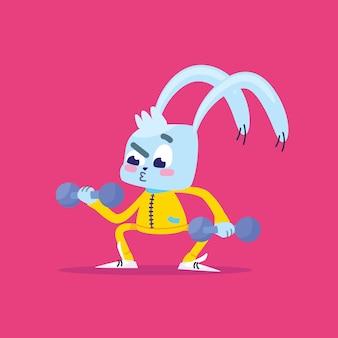 O coelho pratica esportes.