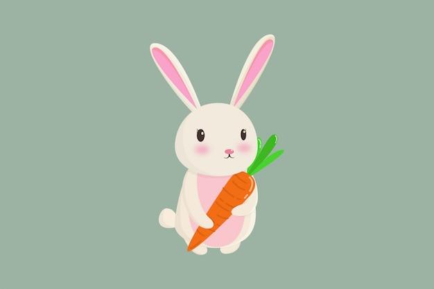 O coelho segura cenouras