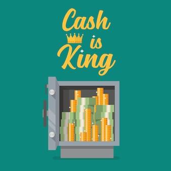 O cofre cheio de dinheiro com o dinheiro de texto é rei