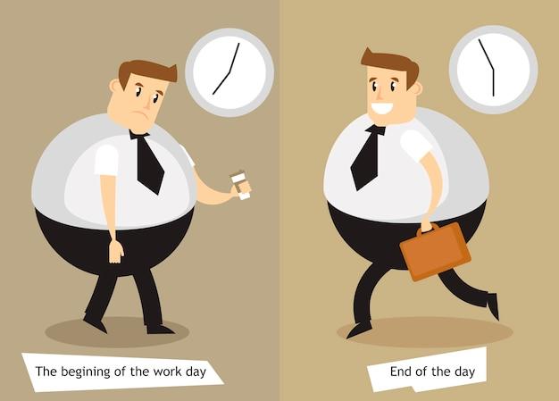 O começo e o fim do dia de trabalho