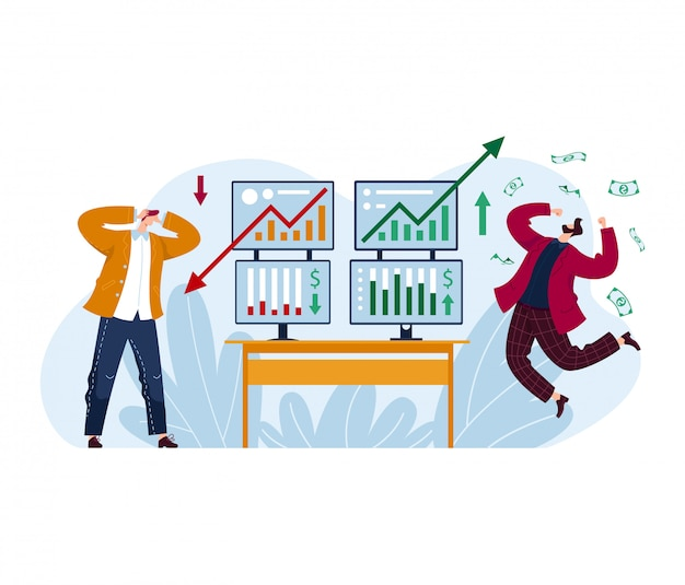 O comerciante masculino perde a bolsa de valores, homem do investidor que ganha o dinheiro isolado no branco, ilustração dos desenhos animados.