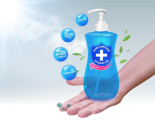 O componente de álcool 75 do gel desinfetante para as mãos mata até 9999 bactérias e germes da doença coronavírus