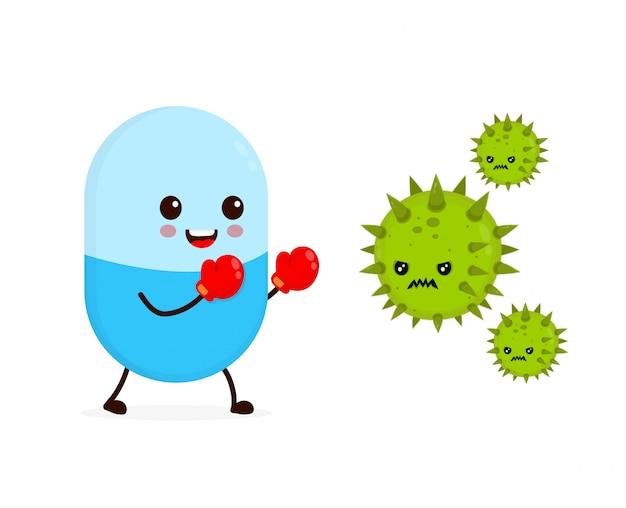 O comprimido forte engraçado feliz bonito da cápsula em luvas de boxe luta com o vírus do microorganismo das bactérias.