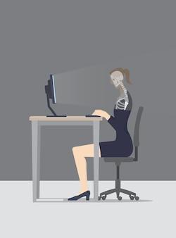 O computador examina a mulher enquanto ela navega na web