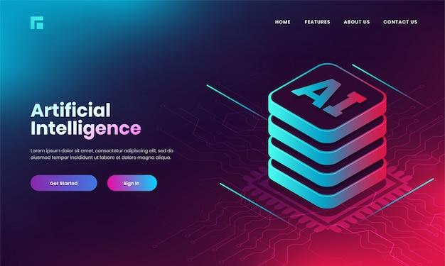 O conceito da inteligência artificial (ai) baseou o projeto da página de aterrissagem com o servidor de web 3d ai no fundo do circuito digital.
