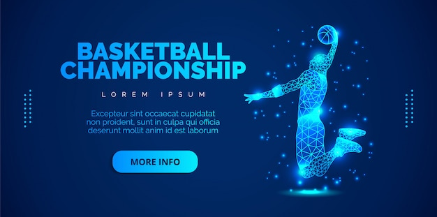 O conceito de arte de um homem que joga basquete. brochuras de modelo, folhetos, apresentações, logotipo, impressão, folheto, banners.