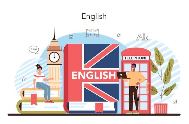 O conceito de aula de inglês é estudar línguas estrangeiras na escola ou universidade
