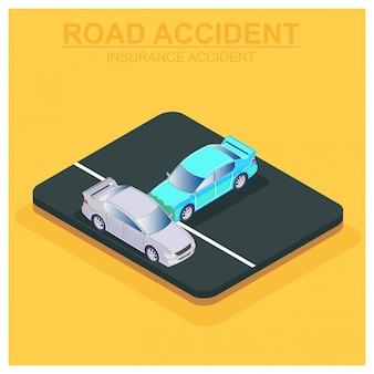 O conceito de carro seguro isométrico