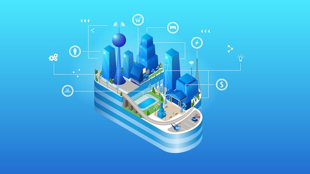 O conceito de cidade de nuvem inteligente inteligente